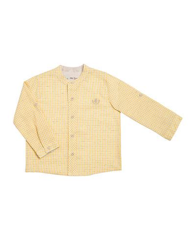 Gingham Cotton & Linen Shirt, Yellow, Size 2-6