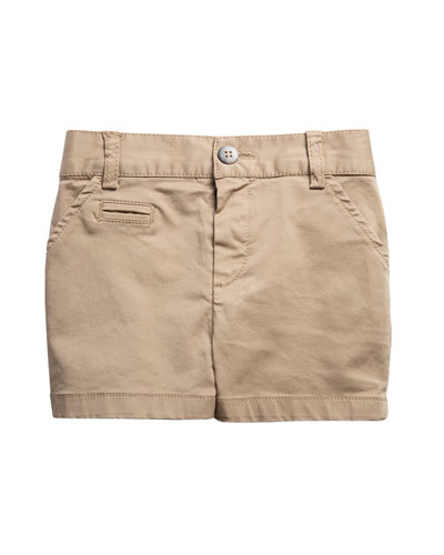 Stretch Twill Shorts, Beige, Size 2-6