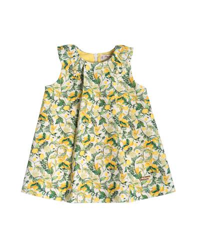 Sleeveless Stretch Tweed Lemon Shift Dress, Green, Size 2-6