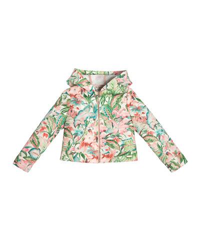 Hooded Hibiscus Zip-Front Jacket, Green, Size 4-10