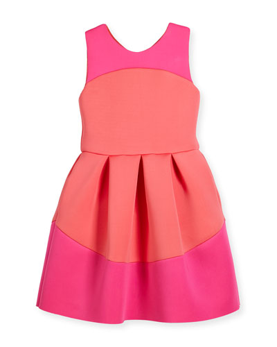 Sleeveless Pleated Two-Tone Scuba Dress, Coral/Pink, Size 4-6X