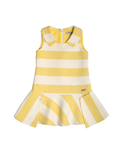 Collared Striped Tweed Fit-and-Flare Dress, Yellow, Size 4-10