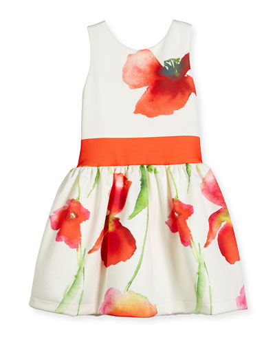 Sleeveless Floral Smocked Ponte Dress, White/Coral, Size 7-16