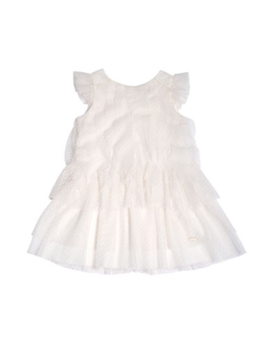 Sleeveless Tiered Point d'Esprit Dress, White