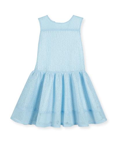Sleeveless Mesh Tulip Dress, Blue, Size 4-10