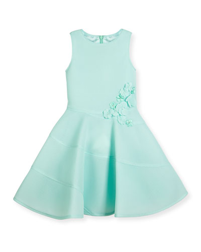 Sleeveless Floral Mesh Neoprene Fit-and-Flare Dress, Aqua Blue, Size 8-16