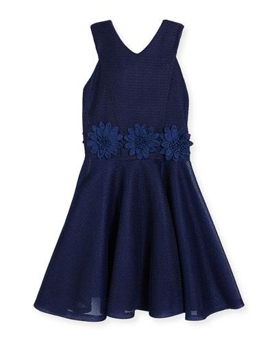 Sleeveless Floral Mesh Circle Dress, Blue, Size 8-16