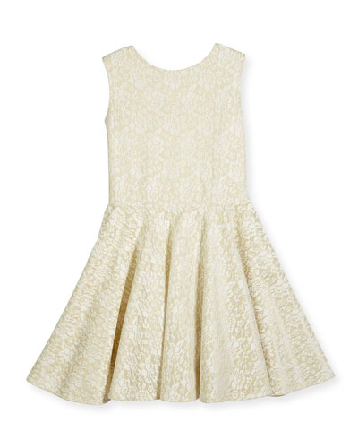 Sleeveless Metallic Lace Circle Dress, White, Size 8-16