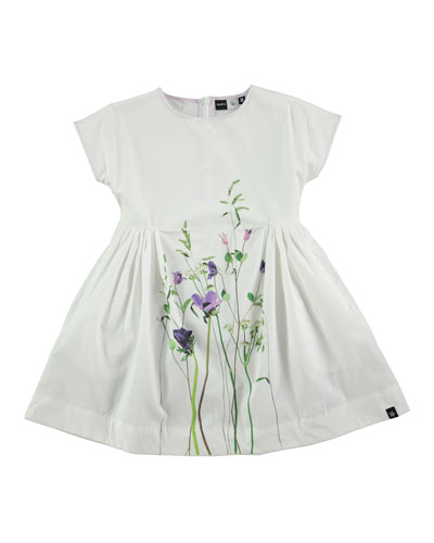Cady Summer Flowers Poplin Dress, White, Size 2T-12