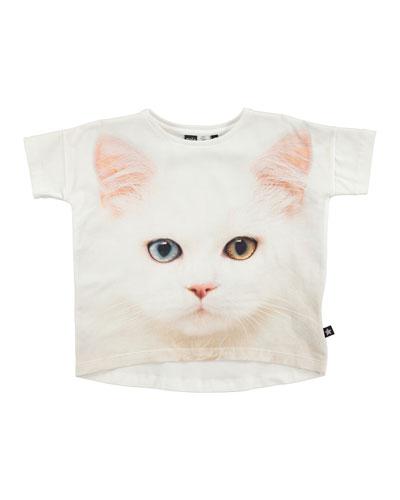 Raeesa Dolman-Sleeve Kitten Jersey Tee, White, Size 2-14