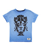Reilly Graphic Lion Jersey Tee, Blue, Size 4-12