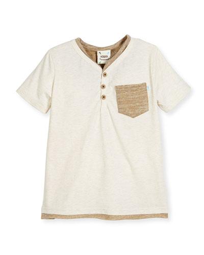 Short-Sleeve Melange Henley Tee, Cream, Size 2-8