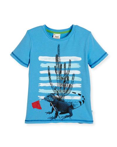 Short-Sleeve Stretch Jersey Iguana Tee, Blue, Size 2-8