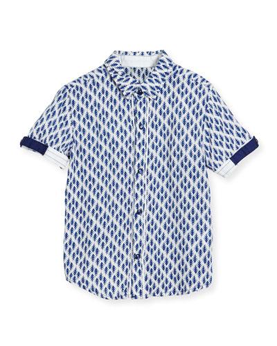 Short-Sleeve Poplin Arrow Blouse, Navy, Size 2-8