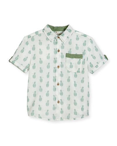 Short-Sleeve Pineapple Skull Poplin Shirt, White, Size 2-8