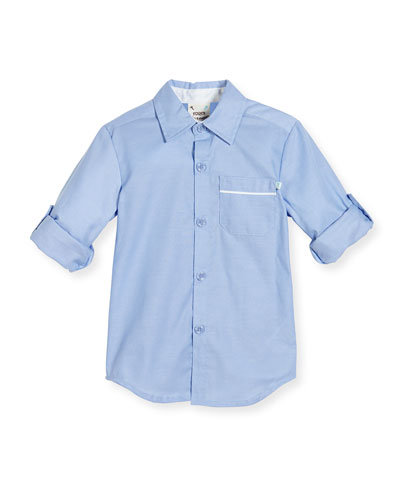 Long-Sleeve Cotton Oxford Shirt, Blue, Size 2-8