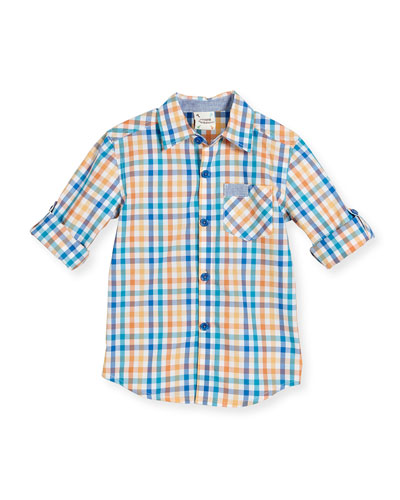 Long-Sleeve Check Poplin Shirt, Orange, Size 2-8