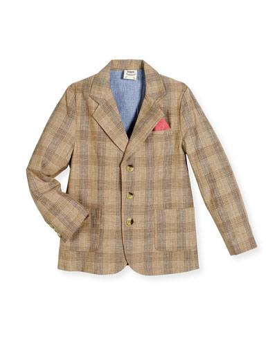Tailored Plaid Blazer, Tan, Size Small (2T - 3T), Medium (4T-5), Large ...