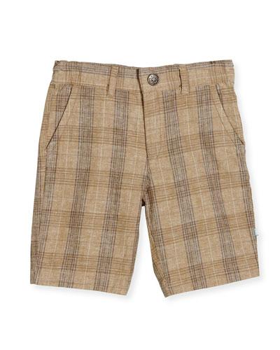 Plaid Bermuda Shorts, Tan, Size 2-8