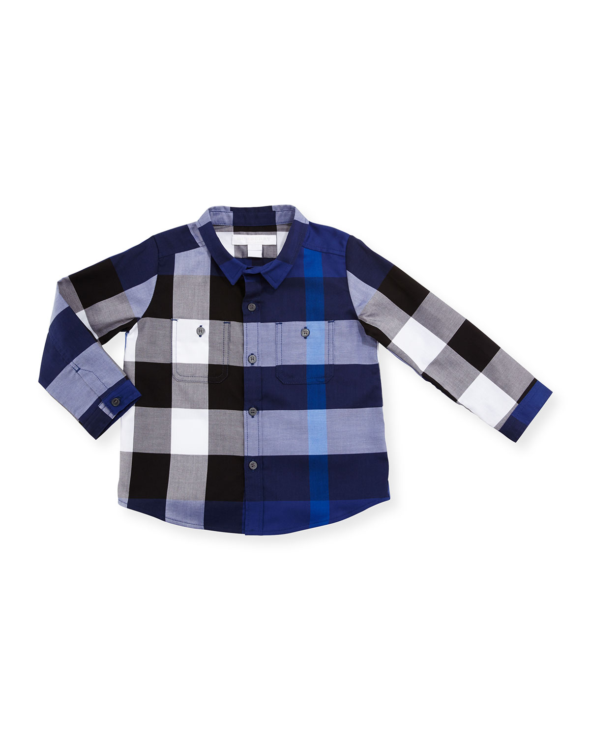 Camber Poplin Check Shirt, Bright Navy Blue, Size 6M-3
