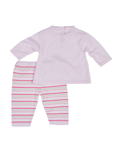 Crewneck Sweater w/ Striped Pants, Size 3-12 Months