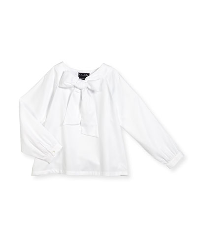 Ribbed Poplin Tie-Front Blouse, White, Size 3-14