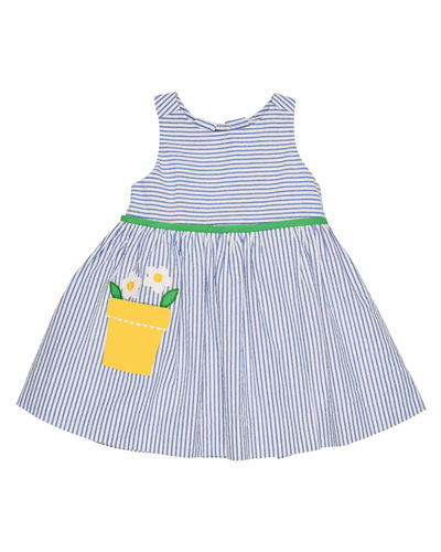 Sleeveless Striped Seersucker Dress, Blue, Size 2-6X