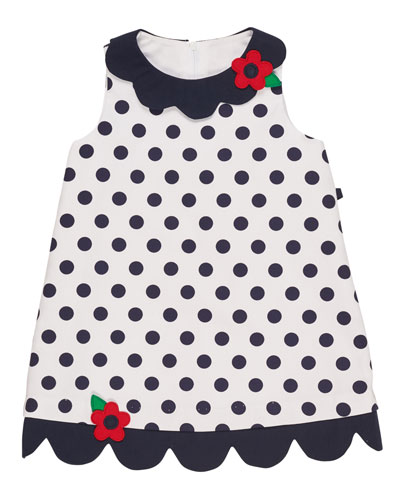 Scalloped Pique Polka-Dot Dress, White/Blue, Size 2-6X