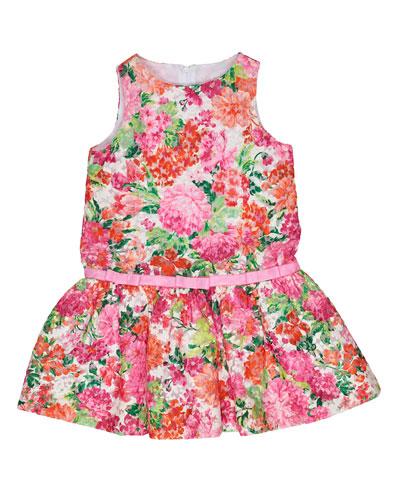 Sleeveless Floral Organza Dress, Pink, Size 4-6X