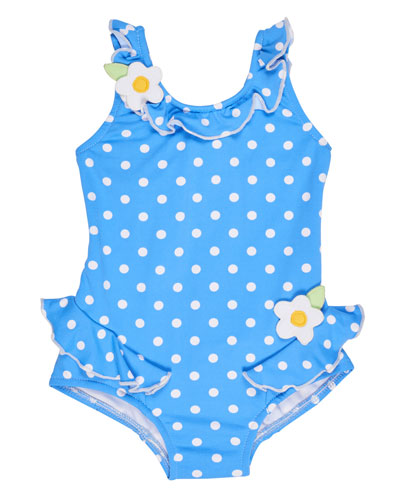 Polka-Dot Ruffle Swimsuit, Blue, Size 6-24 Months