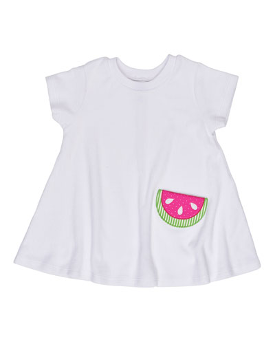 Short-Sleeve Terry Watermelon Coverup, White, Size 2-6X