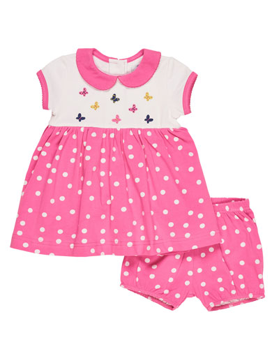 Collared Smocked Polka-Dot Dress w/ Bloomers, Pink, Size 3-24 Months