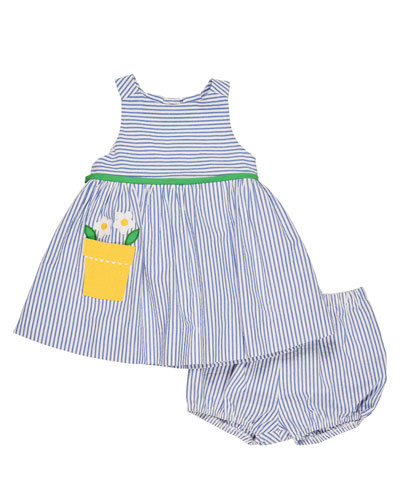 Sleeveless Striped Seersucker Dress w/ Bloomers, Blue, Size 3-24 Months