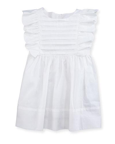Carrie Ruffled Poplin Dress, White, Infant/Toddler