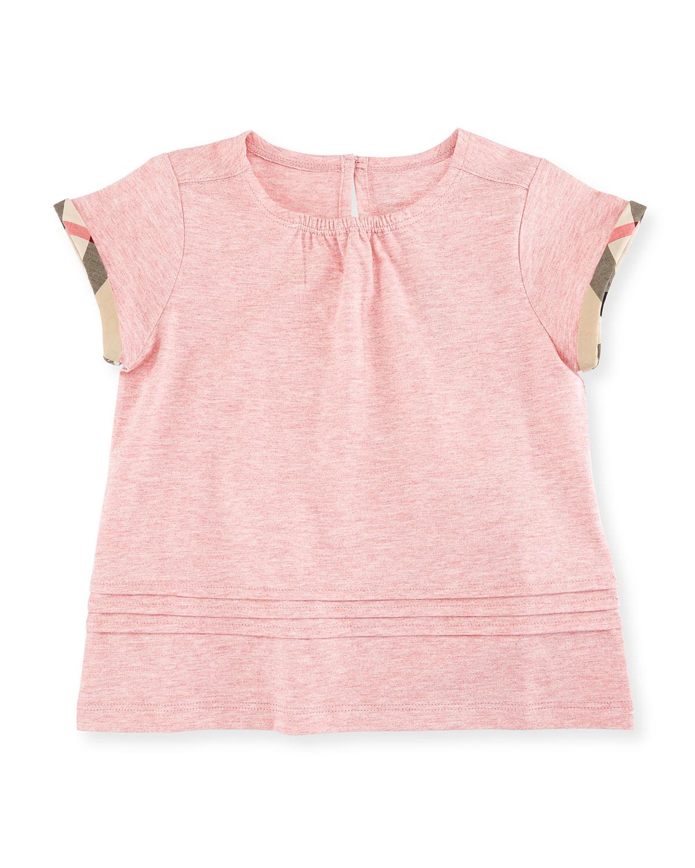Gisselle Pintucked Melange Jersey Tee, Light Pink, Size 6M-3