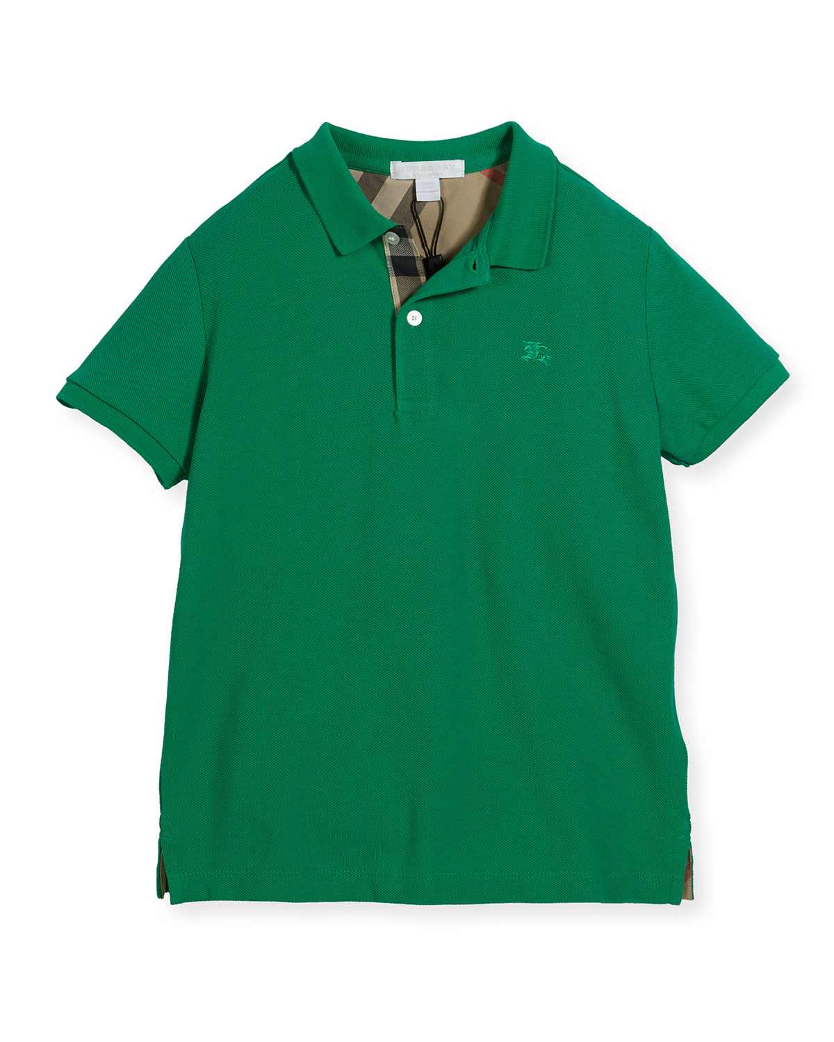 Palmer Short-Sleeve Pique Cotton Polo Shirt, Bright Green, Size 6M-3