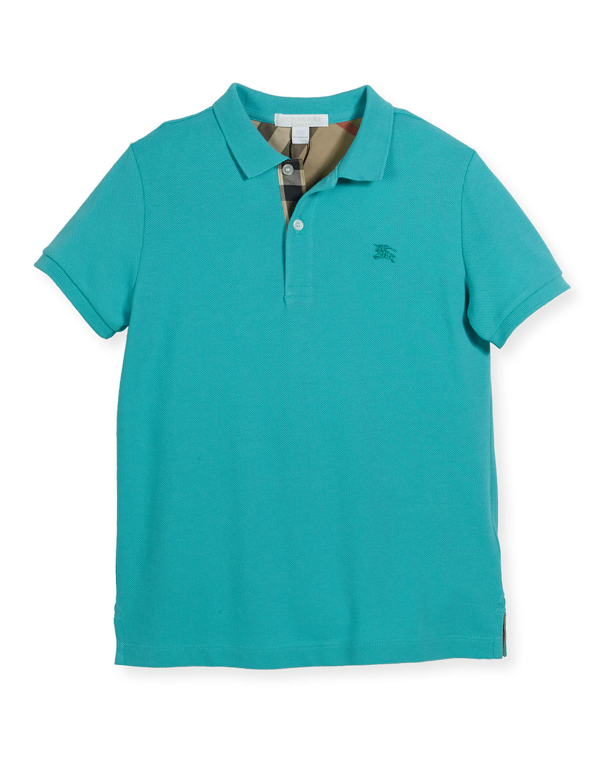 Palmer Short-Sleeve Pique Cotton Polo Shirt, Turquoise, Size 6M-3