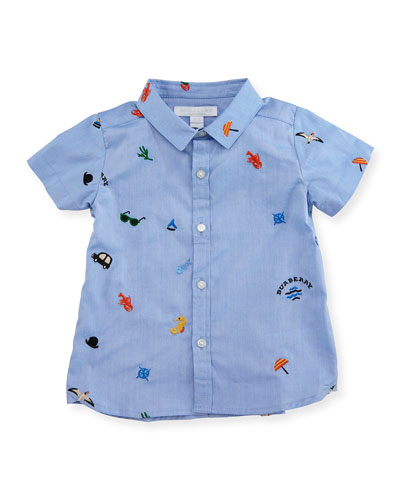 Clarkey Embroidered Shirt, Medium Blue, Infant/Toddler
