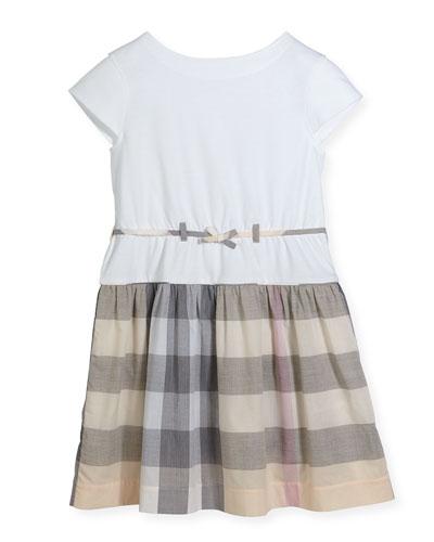 Rhonda 3 Cap-Sleeve Jersey & Check Poplin Dress, Tangerine, Size 4-14