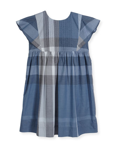 Gertrude Sleeveless Check Dress, Medium Blue, Size 4-14