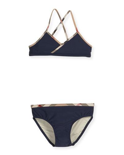 Crosby Cross-Back Two-Piece Swimsuit, Navy, Size 4-14