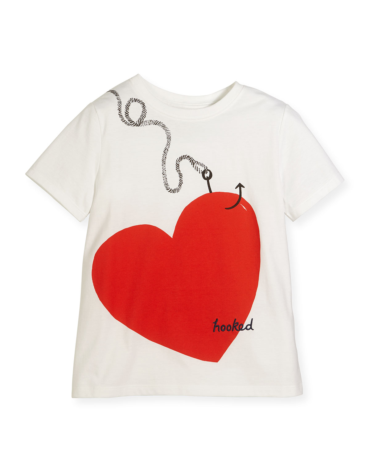 Hooked Heart Jersey Tee, White, Size 4-14