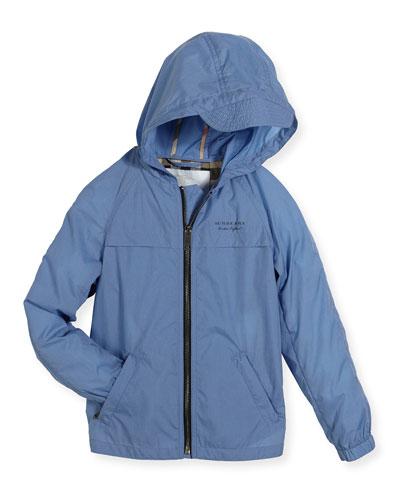 Aarcher Hooded Lightweight Rain Jacket, Blue, Size 4-14