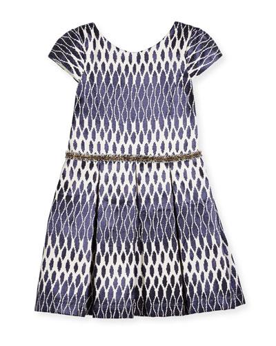 Cap-Sleeve Pleated Ikat Jacquard Dress, Navy, Size 7-16