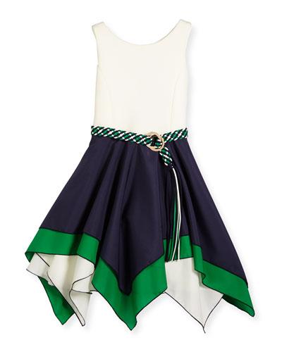 Sleeveless Belted Scuba & Poplin Handkerchief Dress, Navy/White, Size 7-16