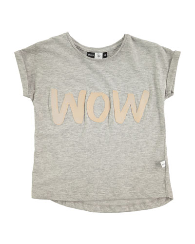 Rachelle Heathered Wow Jersey Tee, Gray, Size 3-14
