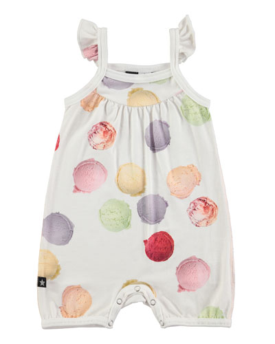 Faline Ice Cream Overall Playsuit, White, Size 3-12 Months