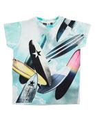 Raul Jersey Surfboard Tee, Blue/Multicolor, Size 4-12
