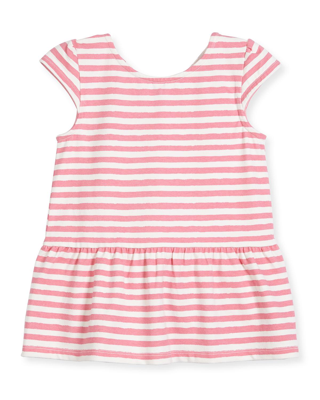 cap-sleeve stretch jersey striped peplum top, pink, size 7-14
