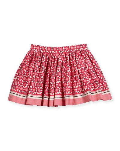 smocked floral tile skirt, multicolor, size 7-14